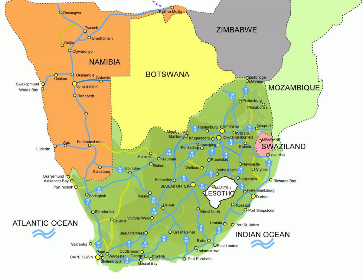 Lesotho Del Afrika Terkep Terkep Lesotho Del Afrikai